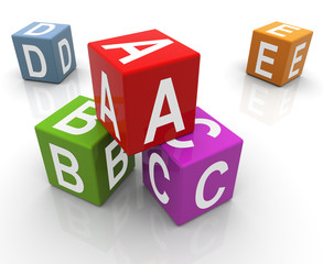 3d colorful abc boxes