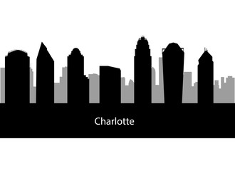 Charlotte USA city skyline silhouette vector illustration