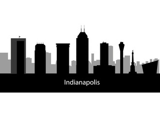 Indianapolis USA city skyline silhouette vector illustration
