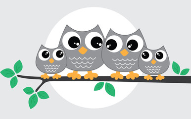 a sweet little owl family
