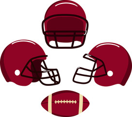 American football helmets and ball.  Vector illustration