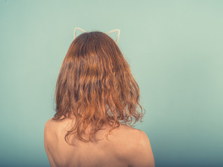 Woman with cat ear hairband