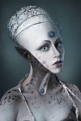 Portrait of a mysterious woman with a fantastic makeup Alien