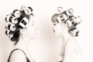 mother-daughter girlfriends, high key black and white image