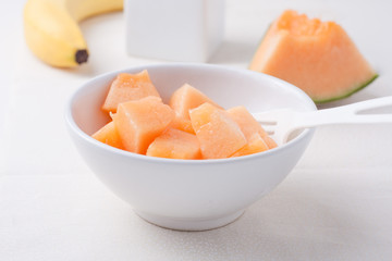 chopped cantaloupe in a bowl