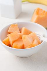 chopped cantaloupe in a bowl