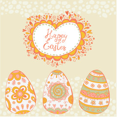 Happy Easter. Bright happy easter card in vector.