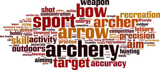 Archery word cloud concept. Vector illustration