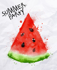 Poster summer party watermelon