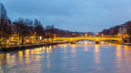 View of the bridge Louis-Philippe over the Seine in Paris