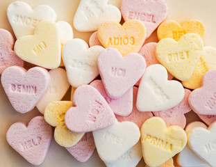 Heart shaped sugar candies