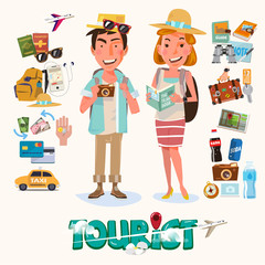 couple of tourist with gadget for travel - vector illustration