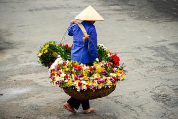 Life of vietnamese florist vendor in Ha Noi, VIETNAM