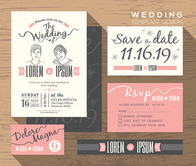 Modern wedding invitation set design Template