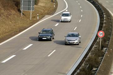 Fototapete - dreispurige Autobahn