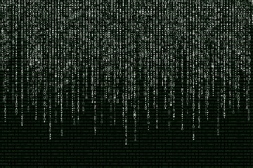 white matrix on the background of green binary code