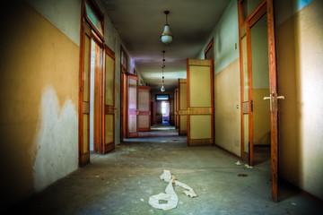 Corridor of a dark abandoned building