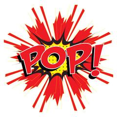 POP! wording in comic speech bubble in pop art style