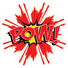 POW! wording sound effect set design for comic background