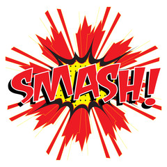 SMASH! wording in comic speech bubble in pop art style
