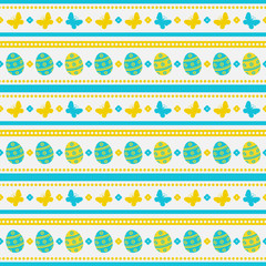 Easter seamless pattern with eggs and butterflies.