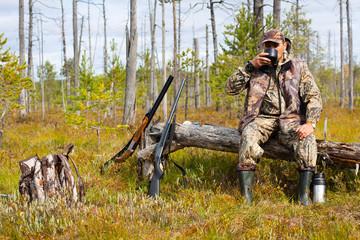 the hunter drinking tea on the halt