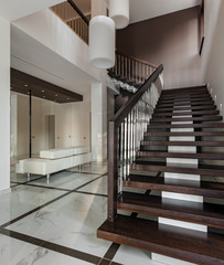 Luxury hall interior with staircase