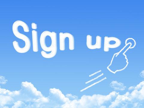sign up message cloud shape