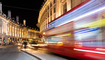 Regent Street view at night, London.