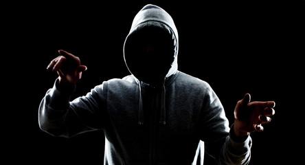 Futuristic hacker attack virtual cybercrime