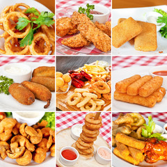 Deep-fried snacks collage