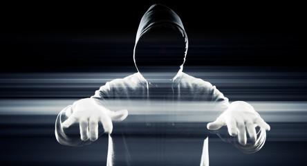 Futuristic hacker in white gloves