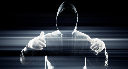 Dark hacker in black, future cybercrime