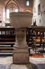 baptismal font  in the church of Santa Cristina in monselice