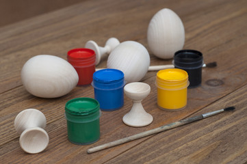 Eggs and paints for making souvenirs for Happy Easter.
