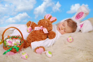 sleeping baby in easter bunny costume