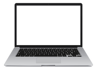 Vector illustration of thin Laptop with blank screen isolated