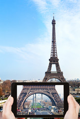 taking photo of Champ de Mars and Eiffel Tower