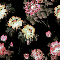 Seamless floral pattern with peonies on black background