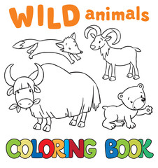 Coloring book with wild animals