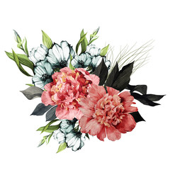 Bouquet of peonies and eustoma