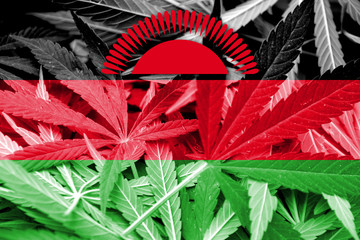Malawi Flag on cannabis background. Drug policy.