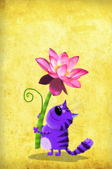 Violet Cat with Lotus