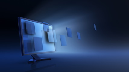 3d render of monitor, abstract date transfering