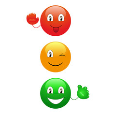 Cartoon traffic lights on the white background