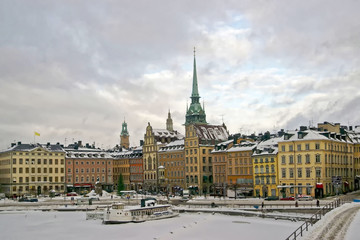 Stockholm city center in winter