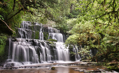 Panoramic view of the Purakaunui Falls (Catlins, New Zealand)