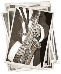 Fototapete - Black and white photos, Vintage photos with saxophonist