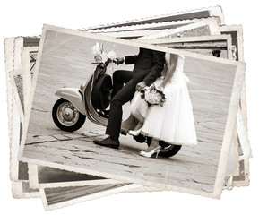 Fototapete - Vintage photos with newlywed