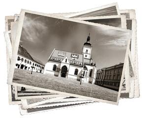 Fototapete - Black and white photos, Vintage photo St. Mark' church Zagreb